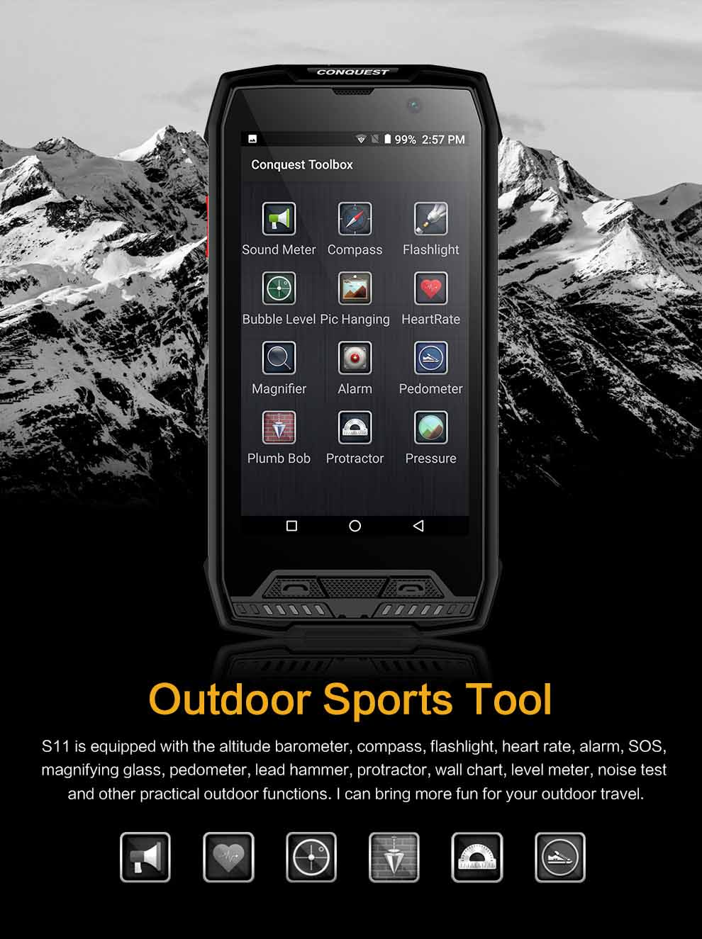 CONQUEST S11 Rugged SmartPhone 8