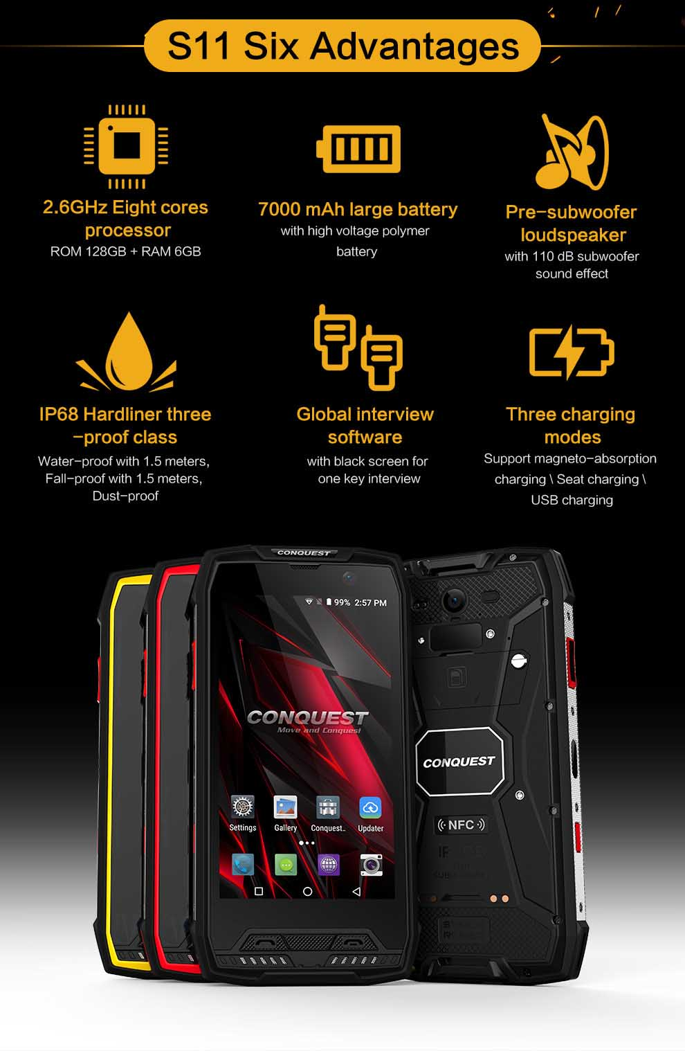 CONQUEST S11 Rugged SmartPhone 5
