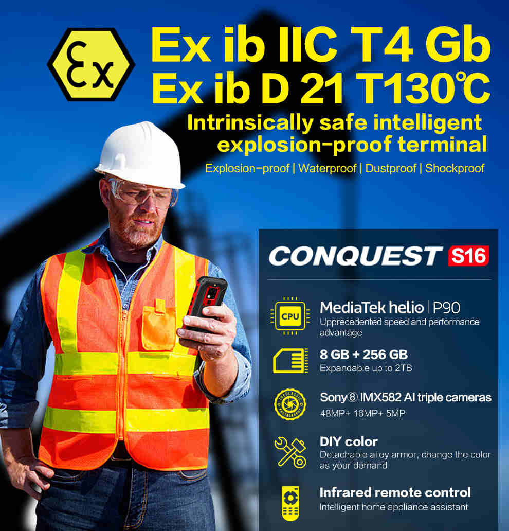 Conquest S16 ATEX Rugged Smartphone 1