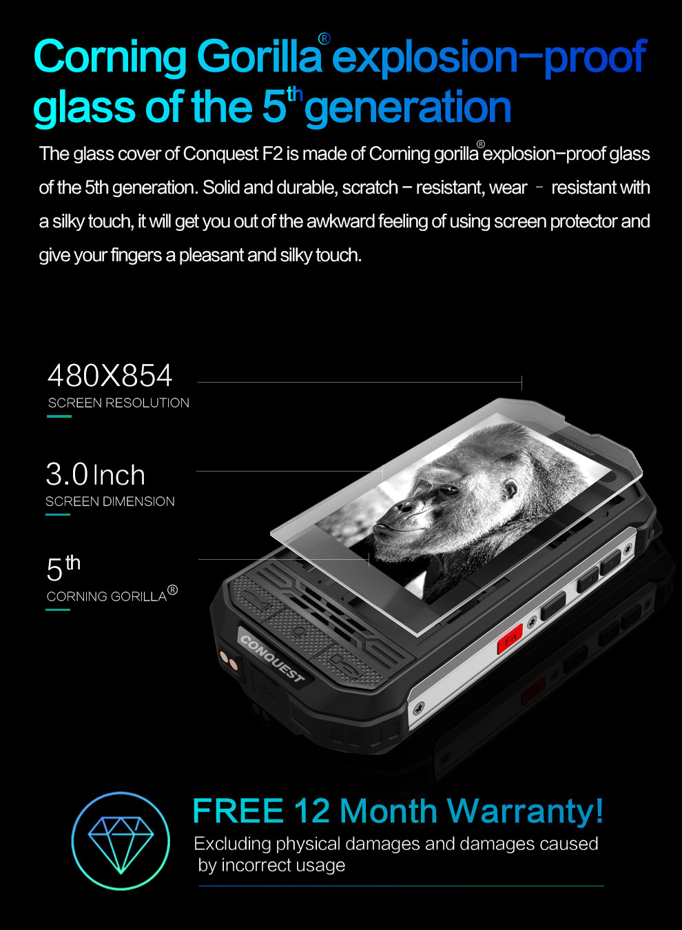 Conquest Rugged Smartphone F2 Luxury 6